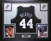 George Gervin Autographed Iceman #44 & Framed Black Spurs Jersey JSA D5-L