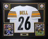 Leveon Bell Autographed & Framed White Steelers Jersey Auto JSA COA D2-L