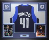 Dirk Nowitzki Autographed & Framed Blue Dallas Mavericks Jersey PSA COA D1-L