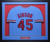 Bob Gibson Autographed and Framed Blue Cardinals Jersey Auto JSA COA D1-M