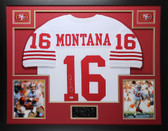 Joe Montana Autographed and Framed White 49ers Jersey PSA COA D12-L