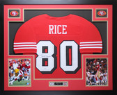 Jerry Rice Autographed and Framed Red 49ers Jersey Auto PSA COA D11-L