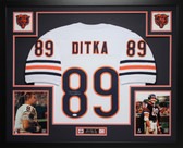 Mike Ditka Autographed  and Framed White Bears Jersey Auto JSA Certified