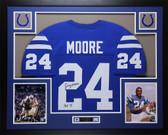 "Lenny Moore Autographed ""HOF 75""& Framed Blue Colts Jersey Auto JSA COA D2-L"