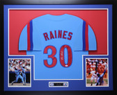 Tim Raines Autographed & Framed Blue Expos Jersey Auto JSA COA D2-L