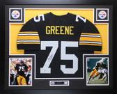Joe Greene Autographed HOF 87 and Framed Black Steelers Jersey Beckett COA D3