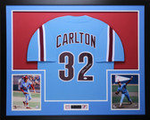 Steve Carlton Autographed & Framed Blue Phillies Jersey Auto JSA COA D2-L