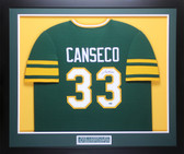 Jose Canseco Autographed & Framed Green A's Jersey Auto Leaf COA D1-M