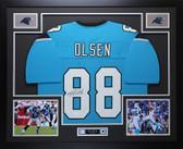 Greg Olsen Autographed & Framed Blue Panthers Jersey Auto JSA COA D1-L