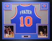 Walt Frazier Autographed & Framed Blue Knicks Jersey Auto JSA COA D1-L