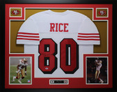 Jerry Rice Autographed and Framed White 49ers Jersey Auto PSA COA D12-L