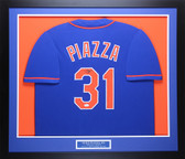Mike Piazza Autographed and Framed Blue Mets Jersey Auto JSA COA D1-L