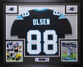 Greg Olsen Autographed & Framed Black Panthers Jersey Auto JSA COA D1-L