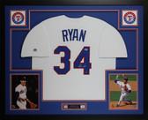 Nolan Ryan Autographed and Framed White Rangers Jersey Auto Nolan Ryan Holo COA