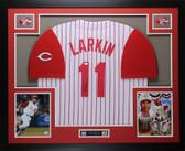 Barry Larkin Autographed and Framed White P/S Reds Jersey Auto JSA COA D3-L