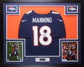Peyton Manning Autographed & Framed Navy Broncos Jersey Steiner COA D19-L