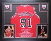 Dennis Rodman Autographed Framed Red Chicago Bulls Jersey Auto JSA COA D8-L