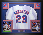 Ryne Sandberg Autographed and Framed Pinstriped Cubs HOF 05 Jersey Auto JSA COA