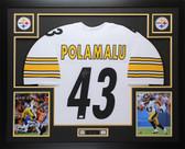 Troy Polamalu Autographed & Framed White Steelers Jersey Auto JSA COA D5-L