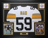 "Jack Ham Autographed ""HOF 88"" & Framed White Steelers Jersey Auto JSA COA D3"