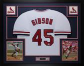 Bob Gibson Autographed and Framed White Cardinals Jersey Auto JSA COA D2-L