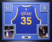 Kevin Durant Autographed & Framed Blue Warriors Jersey Auto Fanatics COA D1-L