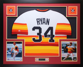 Nolan Ryan Autographed and Framed Rainbow Astros Jersey Auto MLB COA (D4-L)