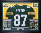 Jordy Nelson Autographed & Framed Green Packers Jersey JSA COA (D1-L)