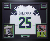 Richard Sherman Autographed & Framed White Seahawks Jersey Sherman COA (D1-L)