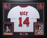 Jim Rice Autographed & Framed White Red Sox Jersey JSA COA (D1-L)