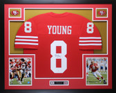 Steve Young Autographed and Framed Red 49ers Jersey Auto JSA COA (D1-L)