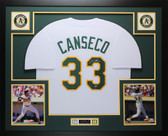 Jose Canseco Autographed & Framed White A's Jersey Auto Leaf COA (D1-L)