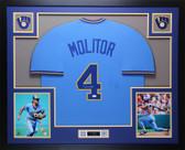 Paul Molitor Autographed & Framed Blue Brewers Jersey Auto JSA COA (D1-L)