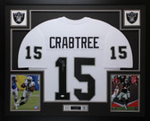 Michael Crabtree Autographed & Framed White Raiders Jersey Auto JSA COA (D1-L)