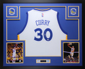 Stephen Curry Autographed & Framed White Warriors Jersey Fanatics COA (D1-L)