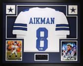 Troy Aikman Autographed and Framed White Cowboys Jersey Auto Beckett COA D16-L