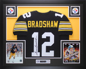 Terry Bradshaw Autographed and Framed Black Steelers Jersey Auto JSA Certified