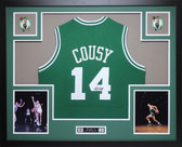 Bob Cousy Autographed and Framed Green Celtics Jersey Auto JSA Certified