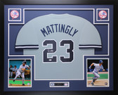 Don Mattingly Autographed & Framed Gray Yankees Jersey Auto JSA COA D6-L