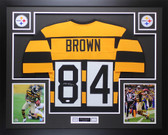 Antonio Brown Autographed & Framed Throwback Bumblebee Steelers Auto JSA COA D3