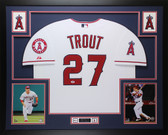 Mike Trout Autographed and Framed White Angels Jersey Auto PSA COA D20-L