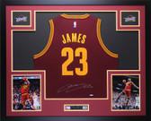 Lebron James Autographed & Framed Maroon Cavs Jersey Auto Upper Deck COA D2-L