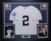 Derek Jeter Autographed and Framed Yankees Pinstriped Jersey Steiner COA D10-L