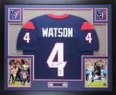 Deshaun Watson Autographed & Framed Blue Texans Jersey Auto Beckett COA D1-L