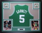 Kevin Garnett Autographed and Framed Green Celtics Jersey PSA COA D2-L