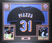 Mike Piazza Autographed & Framed Black Mets Jersey Auto JSA COA D2-L