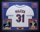 Mike Piazza Autographed & Framed White Mets Jersey Auto JSA COA D3-L
