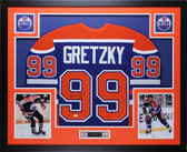 Wayne Gretzky Autographed & Framed Blue Oilers Jersey Auto Upper Deck COA D8-L