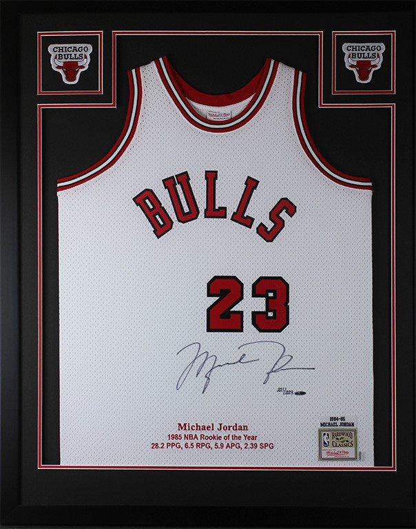 Michael Jordan Autographed and Framed White Bulls Jersey