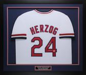 Whitey Herzog Autographed & Framed White Cardinals Jersey Auto JSA COA D1-M